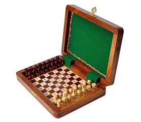 Peg-in-slot Wooden Travel Chess Set